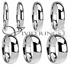 Mens & Womans Stainless Steel Wedding Band High Polish Ring Size 3.5 to 14.5