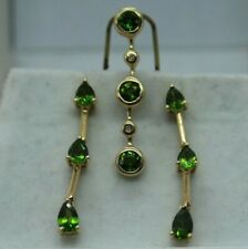 14K Yellow Gold Chrome Diopside Siberian Emerald & Diamond Earring & Pendant Set