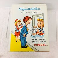 Vintage Greeting Card New Mom & Dad Changing Diapers