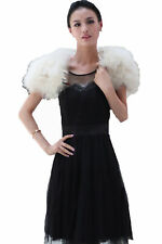 Women Real Ostrich Feather Fur Cape Party Protect Shoulders Party Cream-colour