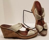 Sperry Top-Sider Cream Brown Leather Strappy Slide Sandals Cork Wedges Size 7.5