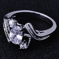 Brilliant Free Shipping crystal Crystal 9K White Gold Filled Ladies Ring,SZ 5