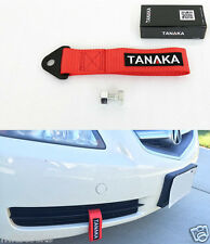2 X TANAKA UNIVERSAL RED RACING SPORTS TOW STRAP TOW HOOK 8000 LBS FRONT + REAR