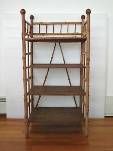 Victorian Burnt Bamboo Etagere 4 Shelf Tier Bookcase Magazine Beehive Finials