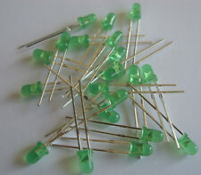 LED's Green 3mm  x 20 inc. resistors FREE POSTAGE