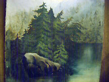 Primitive Oil painting 1800's oil on board Northern Woods Lakescape antique oil