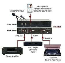 High Gain Phono Microphone MP3 Stereo Preamplifier With Volume Controller
