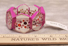 New Nine West Stretch Bracelet Pink Acrylic w/ Colorful Rhinestones Jewelry