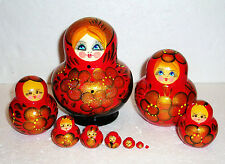 """Beautiful Russian Nesting Doll~10pc~5.5""""~GORGEOUS RED&GOLD&BLACK~HAND PAINTED"""