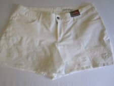 Womens Faded Glory Shorts Boyfriend Stretch Embroidered White Cotton Size 18 NWT