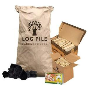 BBQ Starter Kit. Restaurant Grade Charcoal, Kindling, Matches and Firelighters.