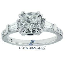 2.30 CARAT F SI2 GIA CERTIFIED CUSHION CUT DIAMOND ENGAGEMENT RING IN PLATINUM