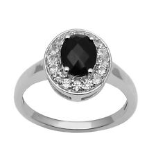 Black Spinel White Topaz Sterling Silver Women Wedding Ring Solitaire Halo Style