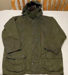 Vtg Barbour Dark Green Beaufort Zip+Snap Closure Wax Oil Cotton Size 44 Coat