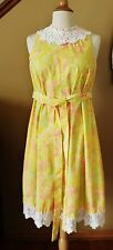 VTG Lilly Pulitzer The Lilly Sleeveless Dress Yellow Pink Floral Sz Med Lace