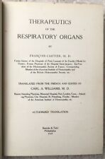 HOMÉOPATHIE 1919 F.Cartier THERAPEUTICS OF THE RESPIRATORY ORGANS