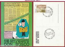 ITALIA MAXIMUM MAXI CARD CENTENARIO MORTE S. DON GIOVANNI BOSCO 1988 TORINO B626