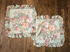 Ralph Lauren Green Gold Floral PAIR 16x16 Throw Ruffle Pillow Covers green label