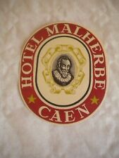 Vintage Luggage label Hotel Malherbe Caen 1950s