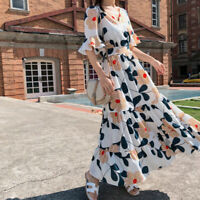 Bohemian Dresses Floral Beach Korean Sundress Women Chiffon Summer Maxi Dress HF