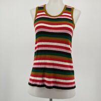 Madewell Top Striped Bayford Sweater Tank Sleeveless Knit Wool Blend Size Medium