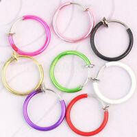 Clip On Fake Piercings 8 Color Rings Ear Nose Lip Belly Ring Fancy Dres MXA