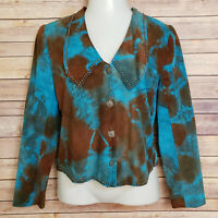 Scully Suede Cropped Jacket Southwest Cowgirl Blue Brown Tie Dye Womens Small