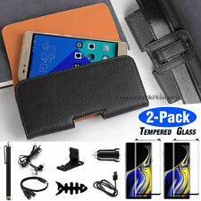For Samsung Galaxy Note 8 / Note 9 HORIZONTAL Carrying Leather Pouch Clip Case