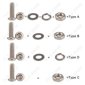 M2.5 10.9Grade Ni-Plated Button Head Screw Allen Bolt+Nut+Flat+Spring Washer Kit