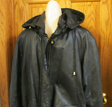 Comint Soft Leather Jacket Coat Insulated w/ Removable Hood Black Womens Size M