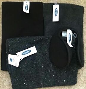 NWT Old Navy Black and Gray Scarves and Earmuffs Sets (3 Scarves & 2 Earmuffs)