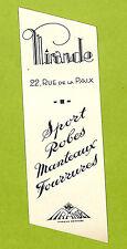 MARQUE-PAGE MIRANDE MANTEAUX ROBES FOURRURES PARIS RUE DE LA PAIX PUBLICITE