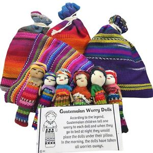Guatemalan Worry Dolls 6 in a Bag Fair Trade Anxiety Gift Handmade Large Dolls