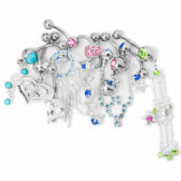 Belly Button Rings 14g Fancy Dangle Mix Randomly Surgical Steel 10 Pack