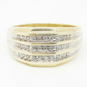 NYJEWEL 10k Two Tone Gold 0.5ct Diamond 12mm Wide Mens Ring Size 10.5, 5g