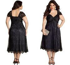 Ladies Elegant Lace Embellished Black Plus Size Dress Club Work Wear 14 16 18 18 (xxxl)