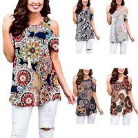 Women Printed Sleeveless Casual Shirt Asymmetrical Loose Tunic Blouse Tops Vest
