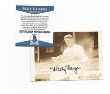 "Wally Berger d.1988 signed 3x5"" photo auto BAS baseball Boston Braves snapshot"
