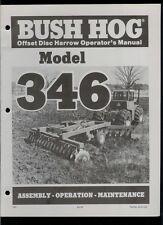 Bush Hog Model 346 Offset Disc Harrow Rare Original Factory Owner's Manual
