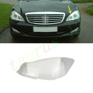 For Mercedes W221 S-Class 2007-2009 Left Side Headlight Clear Lens Cover +Glue
