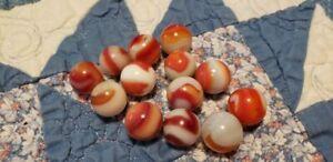 THIRTEEN Rare Mixture of Akro Agate Corkscrews & Peltier Marbles Assorted