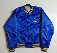 VTG 90s Swingster Men M Milwaukee Brewers Satin Bomber Jacket Baseball Blue USA