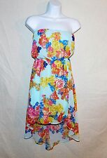 Womens Charlotte Russe Floral Halter Strapless Sun  high low mullet dress sz S