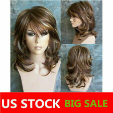 Fashion Female Short Fluffy Layered Wavy Hairstyle Ombre Synthetic Hair Wigs NEW