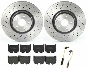 Brembo Front Brake Kit Low-Met Pads Sensors X-Drilled Disc Rotors for MB W219