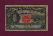 Portugal Angola BANCO NACIONAL ULTRAMARINO 5000 REIS 1909 P-31 F+ ULTRA RARE