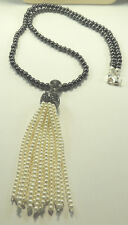 Statement Long Pearl Tassel Necklace on Hematite Fashionable Handcrafted Jewelry