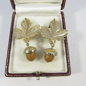 Vintage Goldtone Leaf & Acorn Drop Dangle Clip Earrings