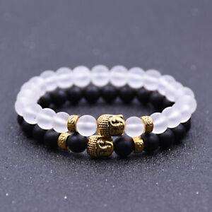 8MM Couples Lava Stone Matte Onxy Buddha Men's Yoga Beaded Energy Bracelets
