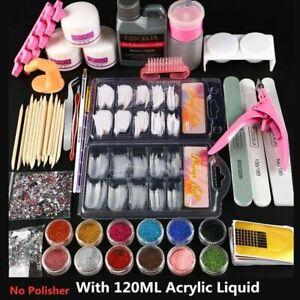 UK Pro Acrylic Nail Art Tool Kit Set Powder Nail Sticker DIY Set Pump Nail Brush